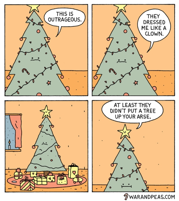 war and peas angry christmas tree funny comic