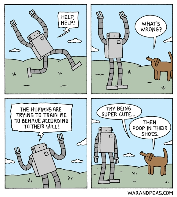 war and peas robot dog conversation funny comic