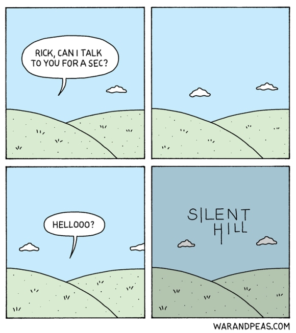 war and peas konami silent hill parody funny comic