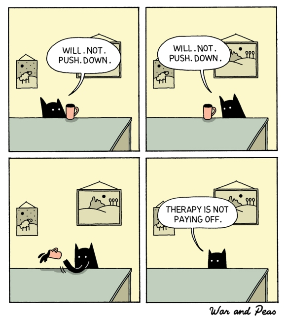 war and peas comic black cat pushes down mug funny humor lol webcomic comicstrip